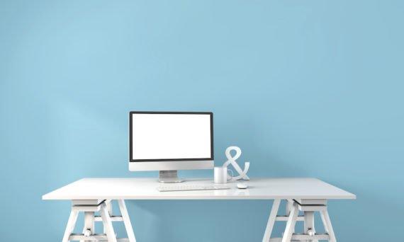 computer on white desk
