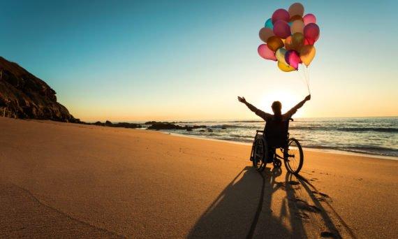 wheelchair on beach